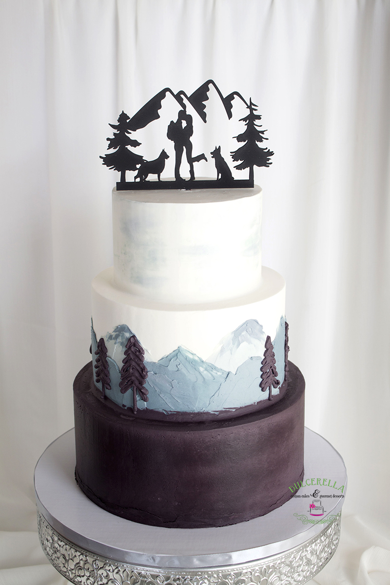 3 tiers wedding cake with buttercream painting